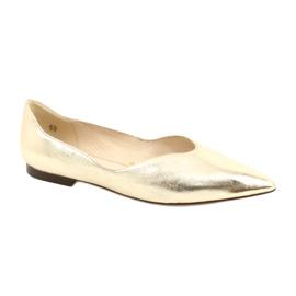 Lordsy baleriny damskie skóra Caprice 24200 Gold złoty