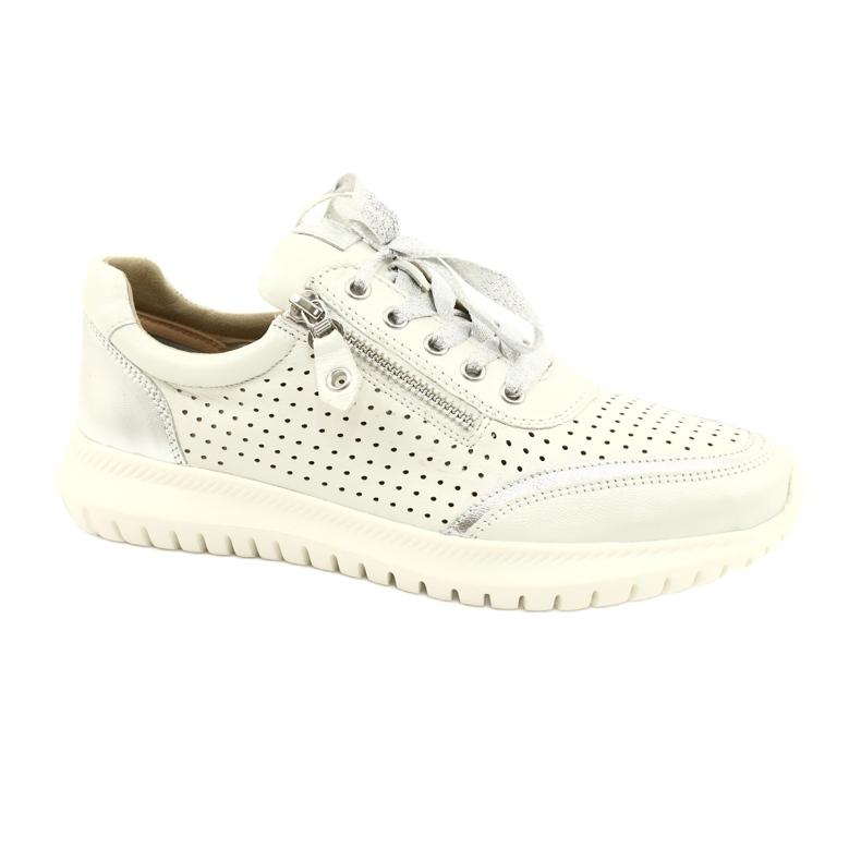 Caprice buty sportowe wiązane tęg.H 23750 white comb białe srebrny