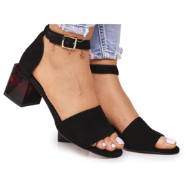 Zamszowe Sandały Na Obcasie Laura Messi 2285 Czarne