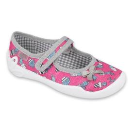 Befado obuwie dziecięce 114X436 różowe szare