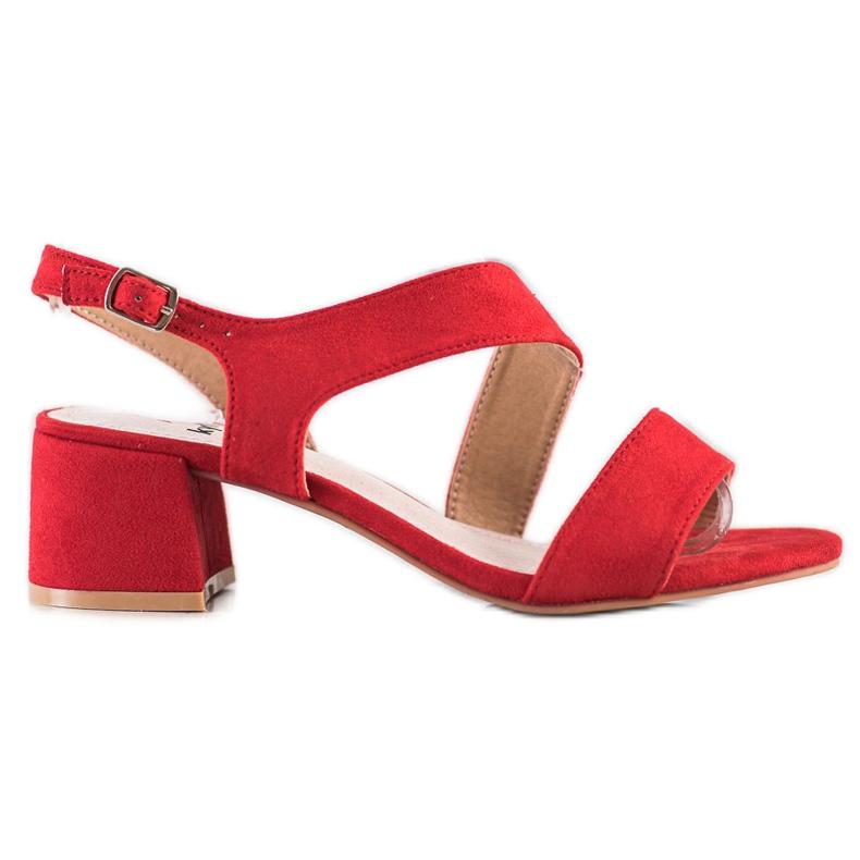 Kylie Czerwone Sandały Na Niskim Słupku