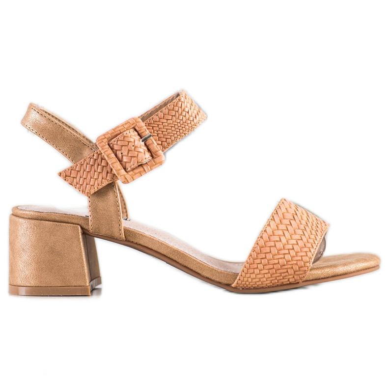 Kylie Plecione Sandałki Na Obcasie brązowe
