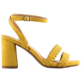 Kylie Zamszowe Sandałki Na Słupku żółte