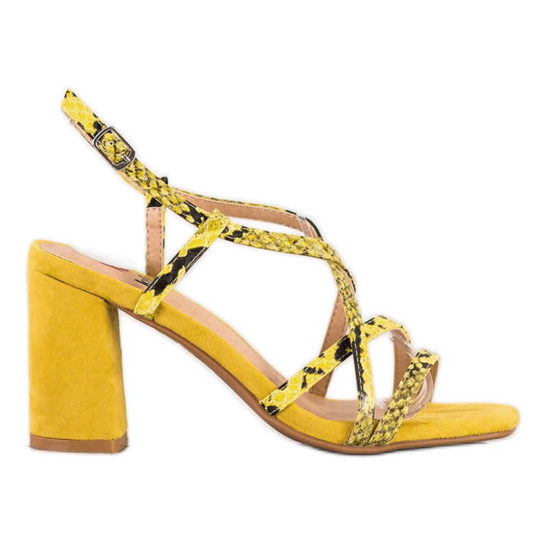 Kylie Sandały Na Słupku Snake Print żółte
