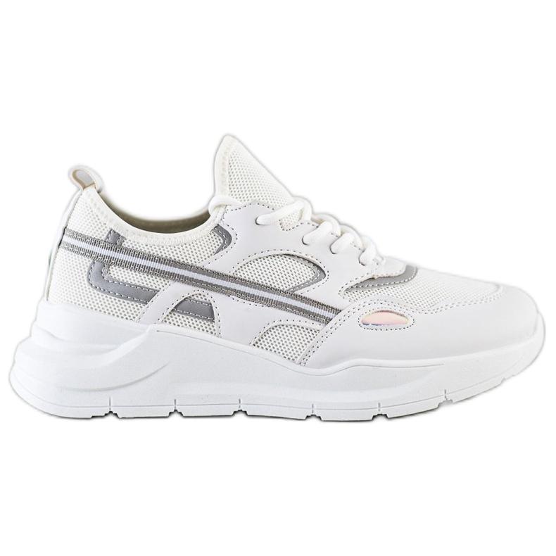 SHELOVET Casualowe Białe Sneakersy szare
