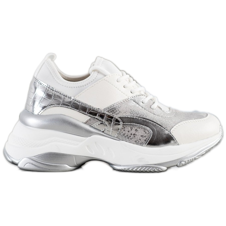 Bestelle Modne Sneakersy Na Platformie białe srebrny szare