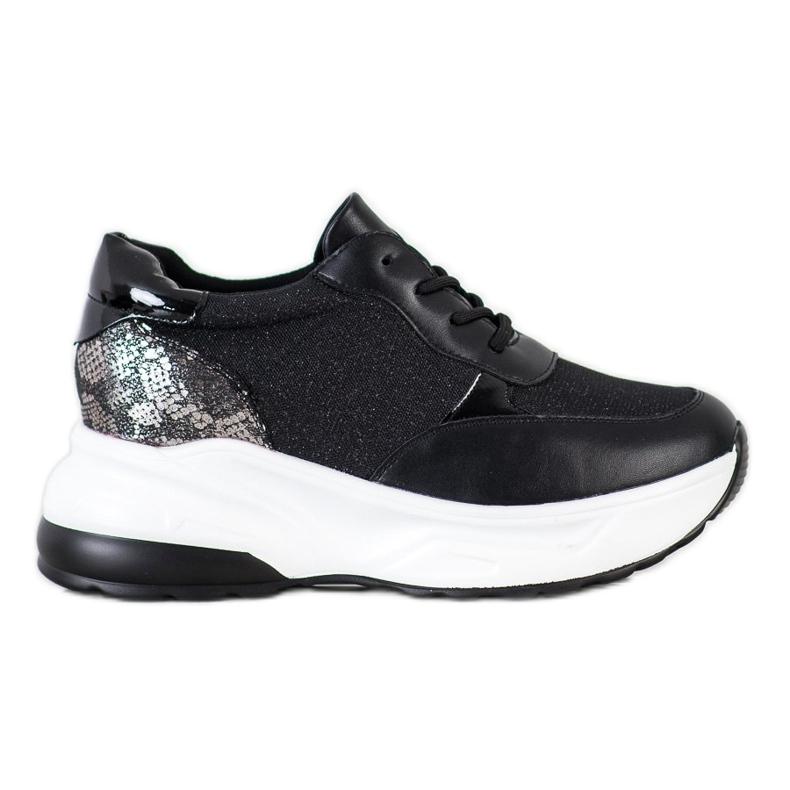 Bestelle Czarne Sneakersy Z Brokatem srebrny