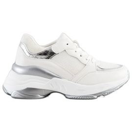 SHELOVET Stylowe BIAŁO-SREBRNE Sneakersy białe srebrny