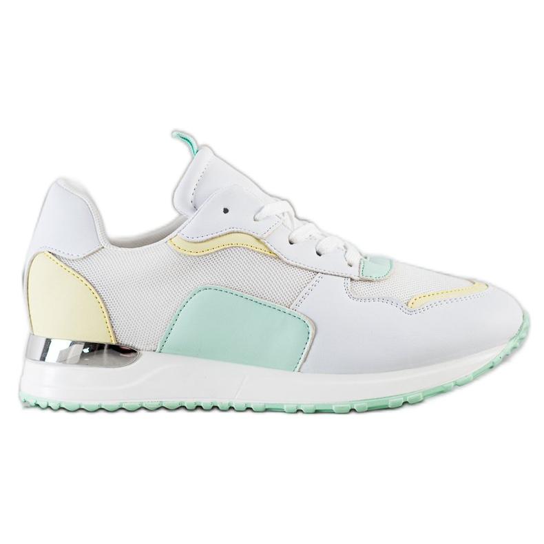 SHELOVET Lekkie Stylowe Sneakersy białe zielone żółte