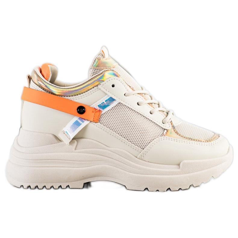 Marquiz Sneakersy Na Koturnie beżowy pomarańczowe złoty