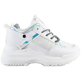 Marquiz Sneakersy Na Koturnie białe srebrny