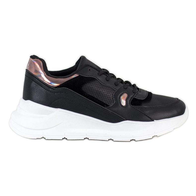 SHELOVET Czarne Sneakersy wielokolorowe