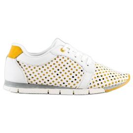 Kylie Biało-żółte Ażurowe Sneakersy białe