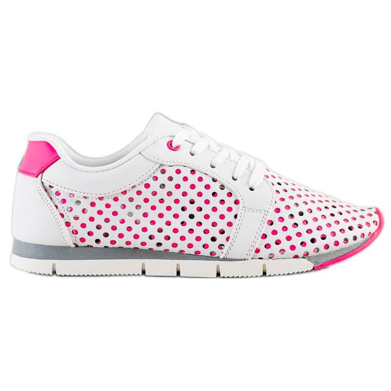 Kylie Biało-różowe Ażurowe Sneakersy białe