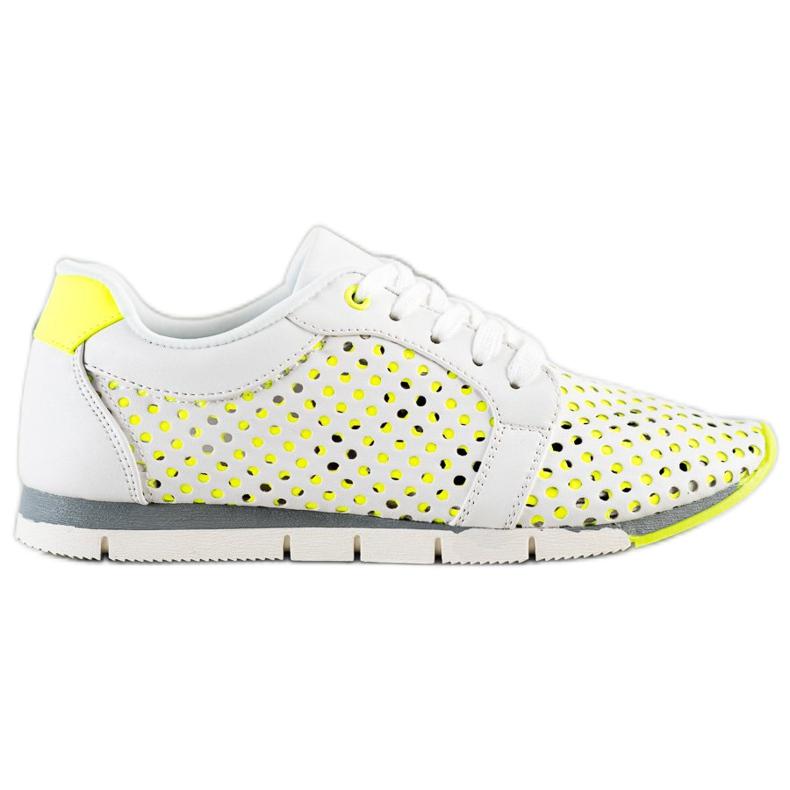 Kylie Biało-zielone Ażurowe Sneakersy białe