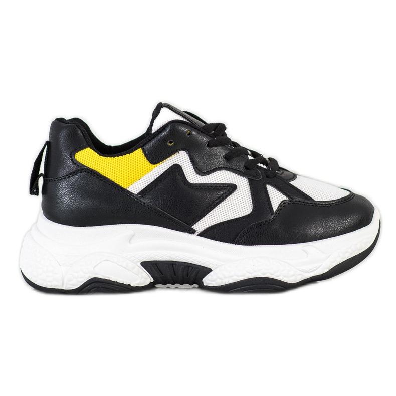 Fashion Wygodne Sneakersy białe czarne żółte