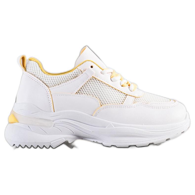SHELOVET Wygodne Białe Sneakersy żółte