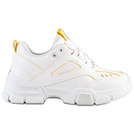 SHELOVET Modne Białe Sneakersy żółte