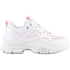 SHELOVET Modne Białe Sneakersy różowe