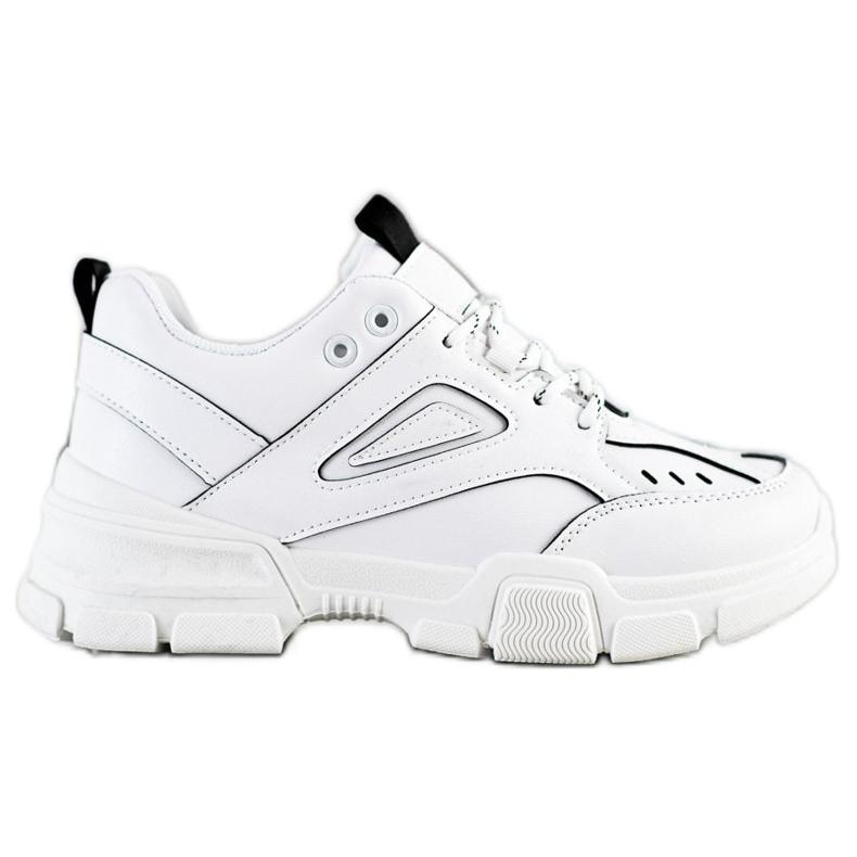 SHELOVET Modne Białe Sneakersy czarne