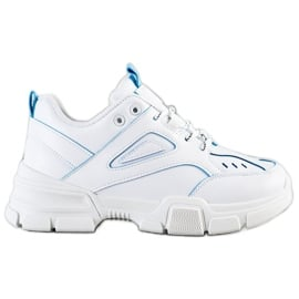 SHELOVET Modne Białe Sneakersy niebieskie