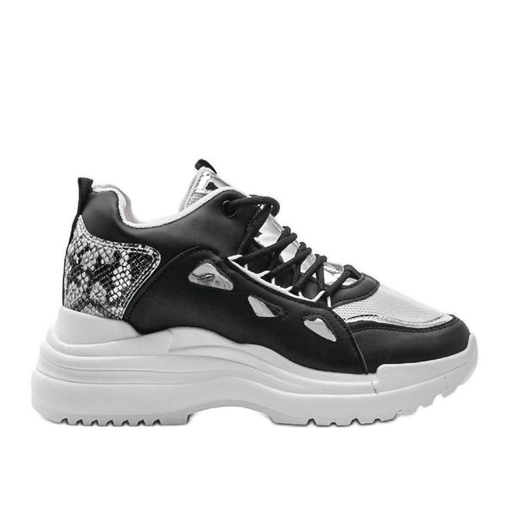 Biało czarne sneakersy snake 3170 białe srebrny