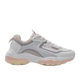 Biało Beżowe sneakersy sportowe 9796 beżowy białe szare złoty