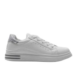 Biało srebrne sneakersy sportowe LDH003 białe srebrny szare
