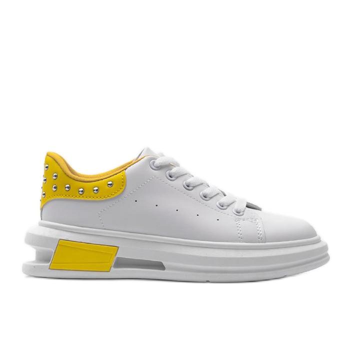 Biało żółte sneakersy damskie Taranto białe