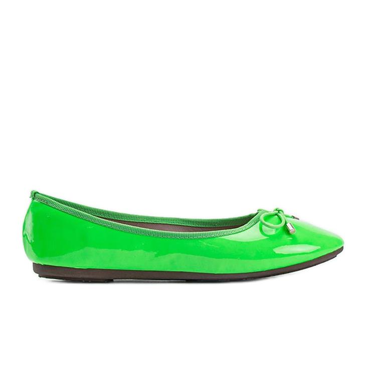 Zielone baleriny lakierowane Jaylynn