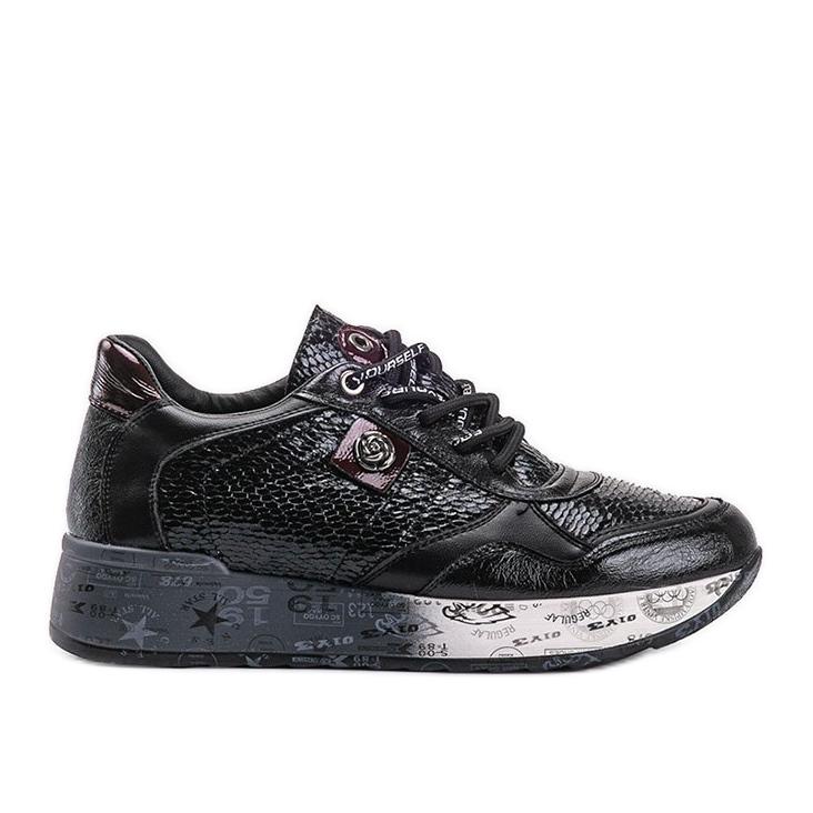 Czarne sneakersy na koturnie Ayanna