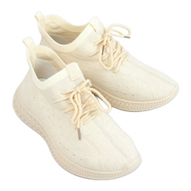 Buty sportowe skarpetkowe beżowe PC01 LT.BEIGE beżowy