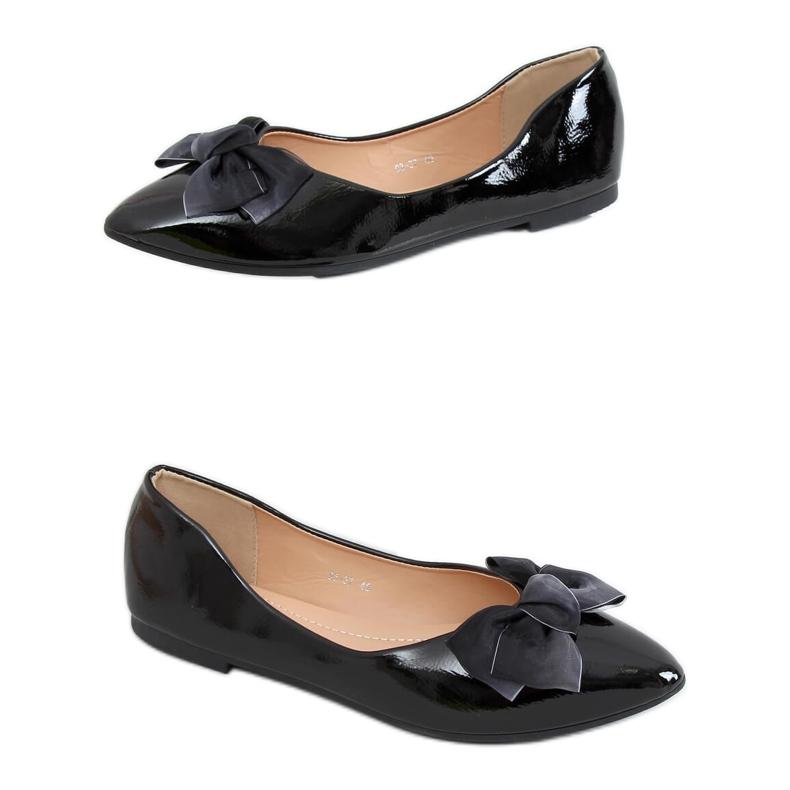 Baleriny damskie lakierowane czarne 98-37 Black