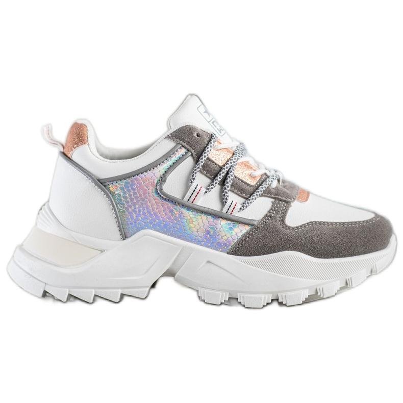 SHELOVET Stylowe Sneakersy białe wielokolorowe