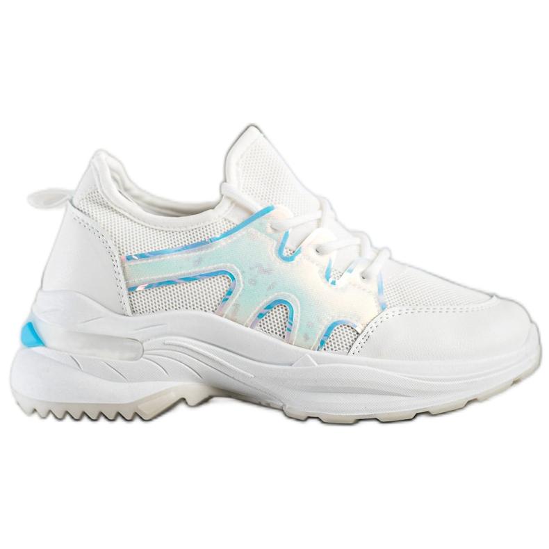 SHELOVET Wiosenne Sneakersy Z Efektem Holo białe