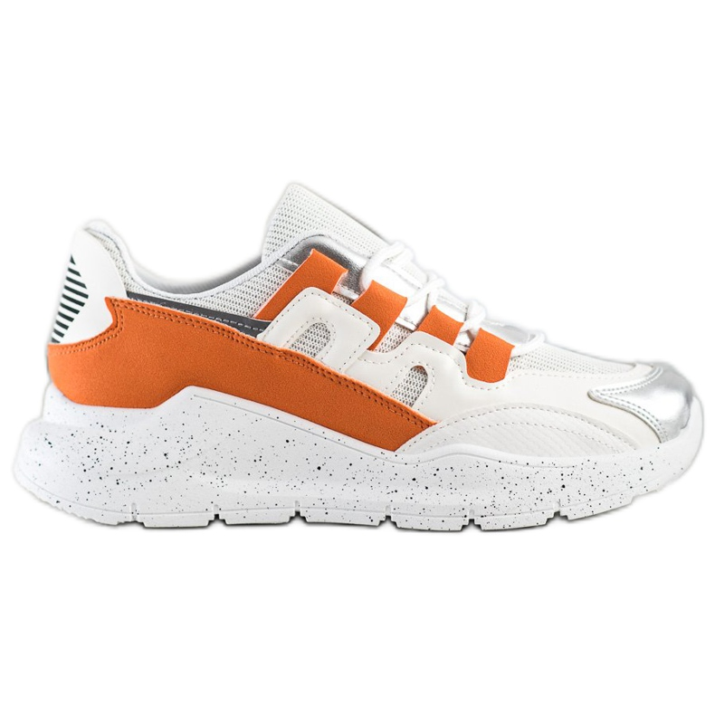 Ideal Shoes Sneakersy Z Pomarańczową Wstawką białe pomarańczowe