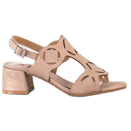 Kylie Eleganckie Sandały Z Ażurowym Wzorem brązowe
