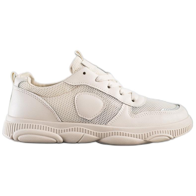 Ideal Shoes Beżowe Sneakersy Z Siateczką beżowy