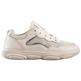 Ideal Shoes Casualowe Beżowe Sneakersy beżowy