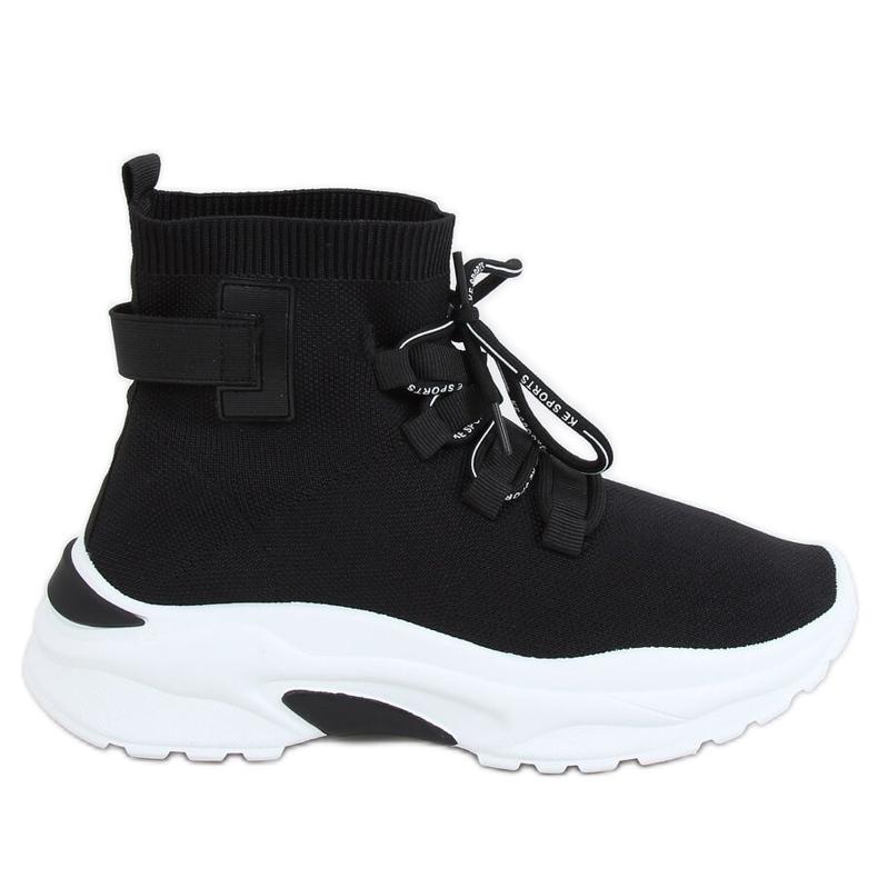 Buty sportowe za kostkę skarpetkowe czarne B0-676 Black