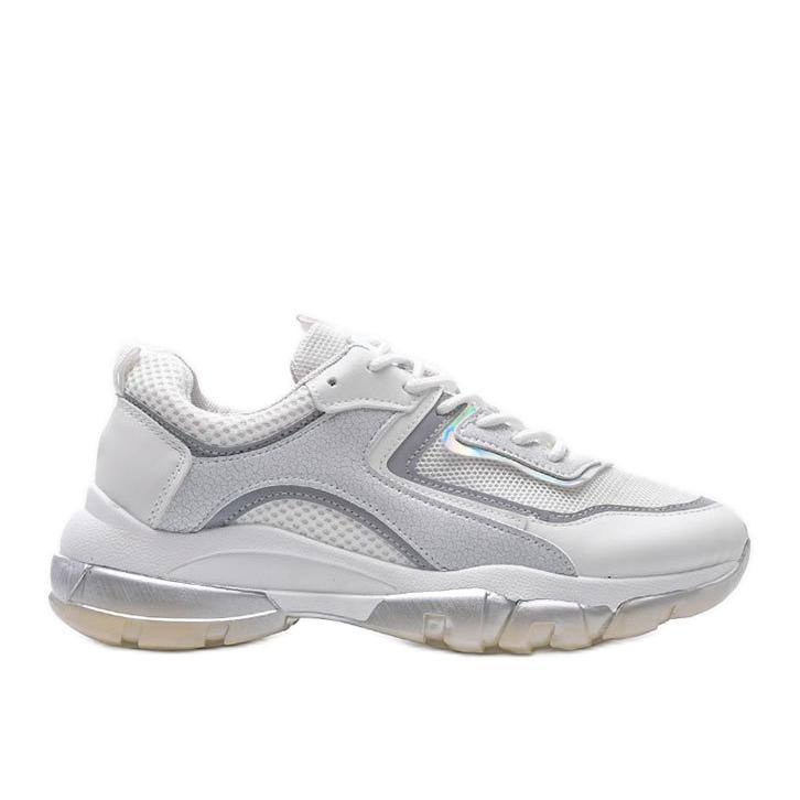 Białe sneakersy sportowe 9796 szare