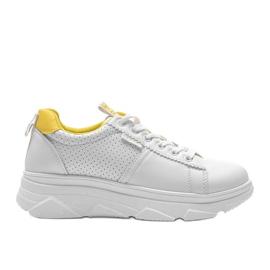 Biało żółte sneakersy sportowe BO-529 białe