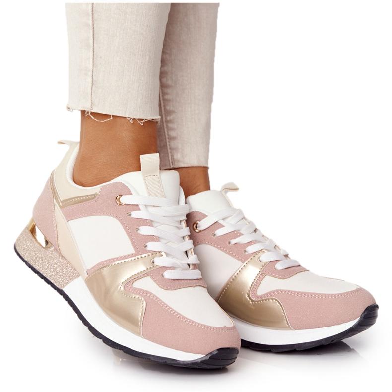 Damskie Sportowe Buty Sneakersy Beżowe Z Brokatem Belinda beżowy wielokolorowe
