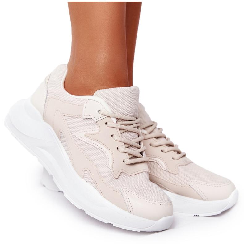 FB2 Damskie Sneakersy Na Dużej Podeszwie Beżowe Delusion beżowy