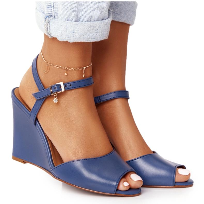 Skórzane Sandały Na Koturnie Laura Messi 2253 Blue niebieskie