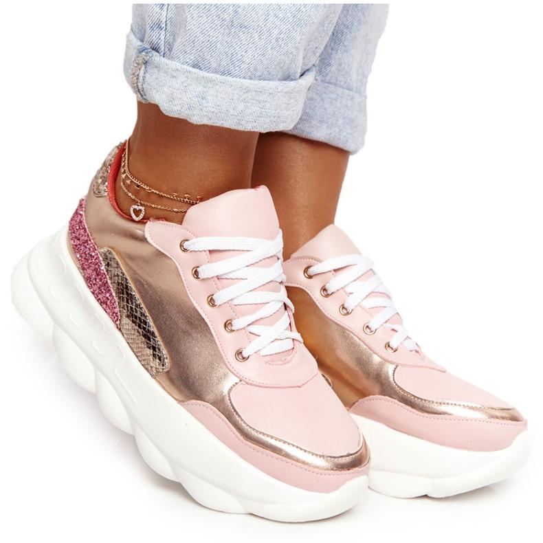 Damskie Sportowe Buty Na Platformie Lu Boo Różowe złoty