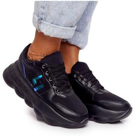 Damskie Sportowe Buty Na Platformie Lu Boo Czarne niebieskie