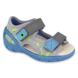 Befado obuwie dziecięce pu 065P159 niebieskie szare wielokolorowe zielone