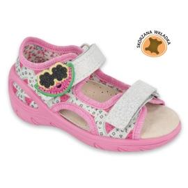 Befado obuwie dziecięce pu 065P148 różowe szare wielokolorowe