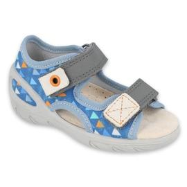 Befado obuwie dziecięce pu 065P158 niebieskie szare